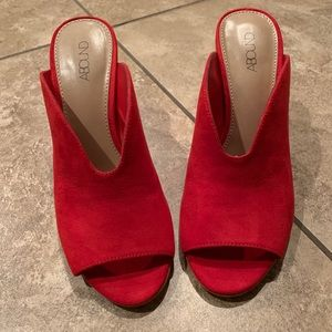 Abound Red Faux Suede Tula Block Heel Mule